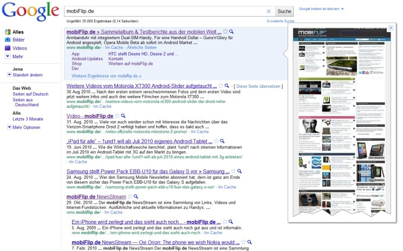 Google Suche Webseite