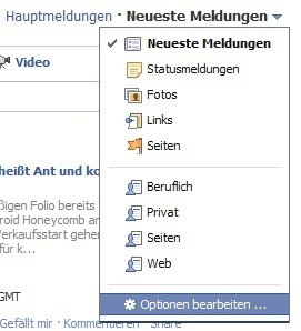 Facebook Optionen Timeline Tipp