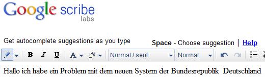 Google Scribe Textverarbeitung Webdienst