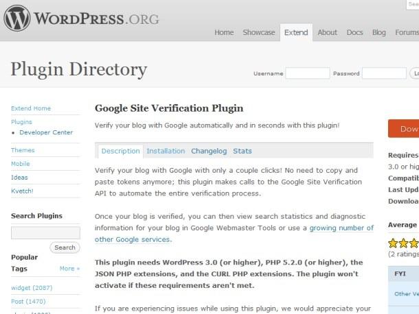 Google Web Webmaster Wordpress