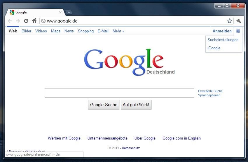 Google Layout Menü