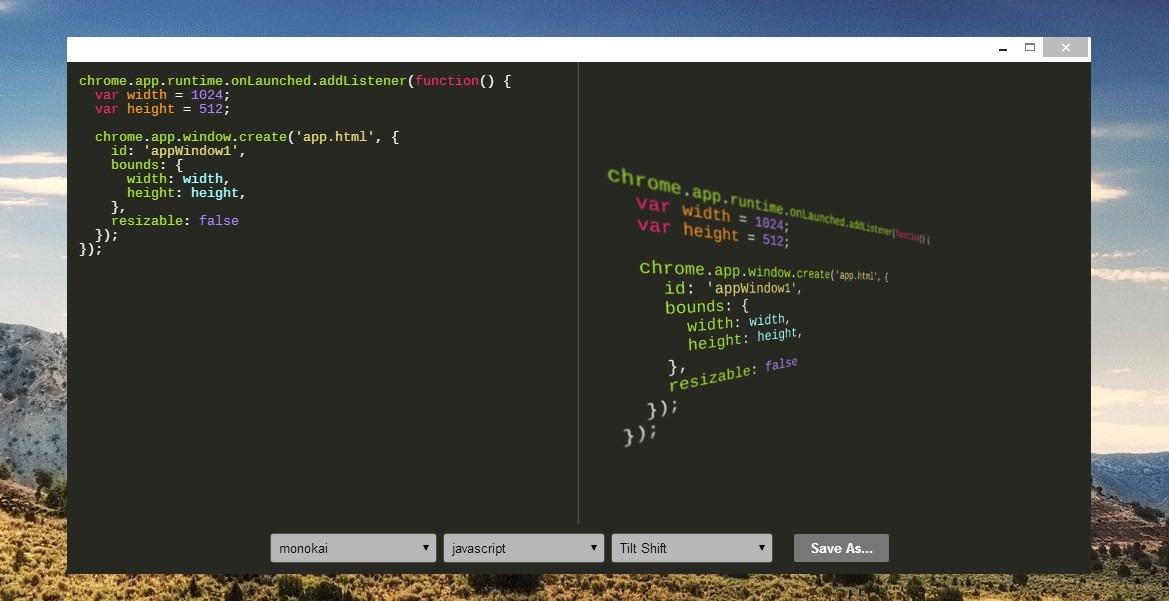 App Chrome Code Screenshot