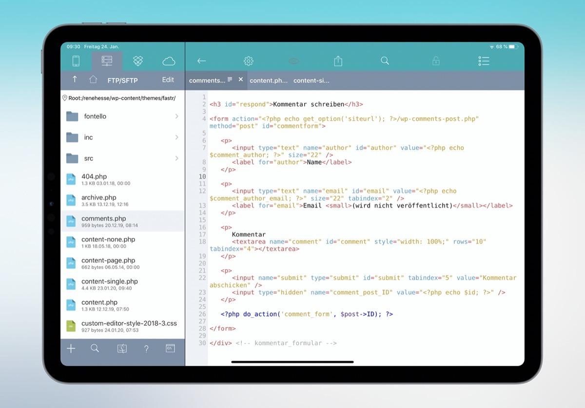 Apple Code editor iOS iPad PHP Wordpress